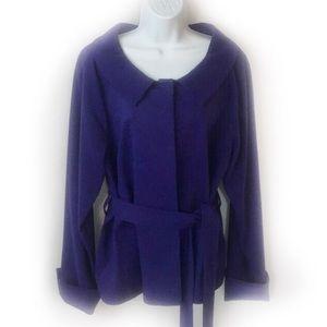 Kate Hill Jacket Purple 14 Belted Lined Nordstrom